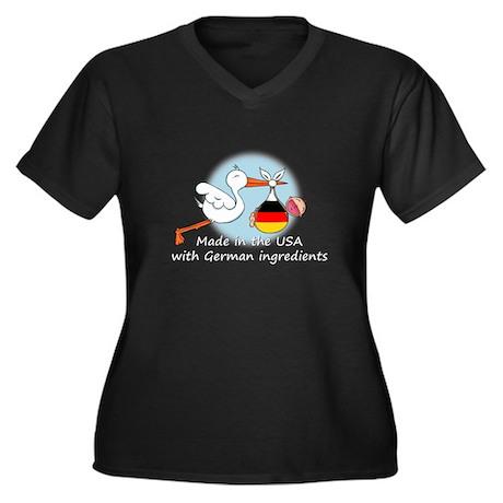 Stork Baby Germany USA Women's Plus Size V-Neck Da