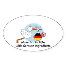 Stork Baby Germany USA Oval Decal