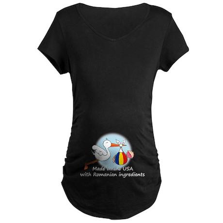 Stork Baby Romania USA Maternity Dark T-Shirt