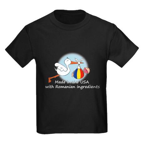Stork Baby Romania USA Kids Dark T-Shirt