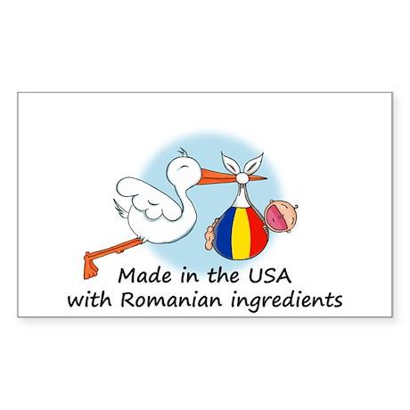 Stork Baby Romania USA Rectangle Sticker