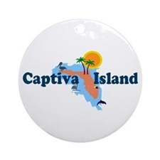 Captiva Island FL - Map Design Ornament (Round)