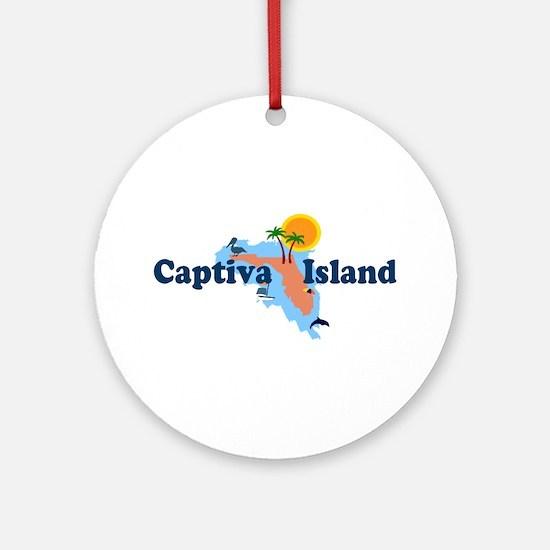 Captiva Island FL - Map Design Ornament (Round)