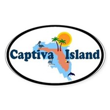 Captiva Island FL - Map Design Oval Decal