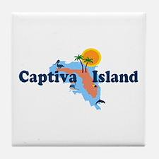 Captiva Island FL - Map Design Tile Coaster