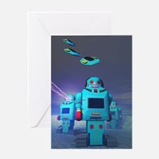 Toy Robos on the Attack Greeting Card