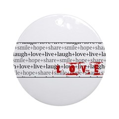 LOVE Inspirational Collage (red) Ornament (Round)
