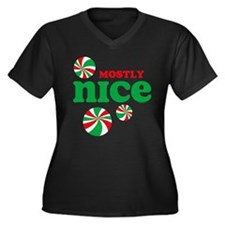 Nice Candy Women's Plus Size V-Neck Dark T-Shirt
