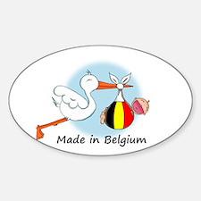 Stork Baby Belgium Oval Decal