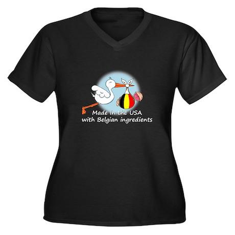 Stork Baby Belgium USA Women's Plus Size V-Neck Da