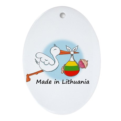 Stork Baby Lithuania Oval Ornament