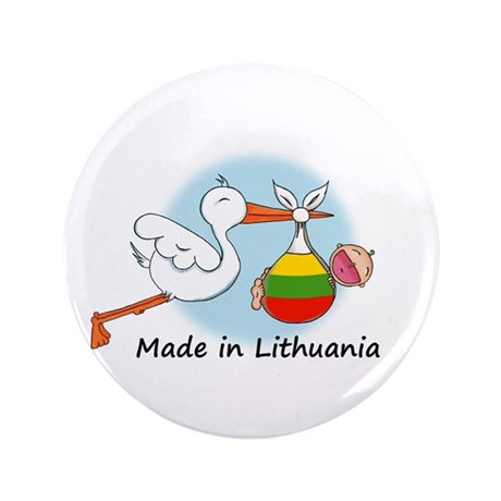 "Stork Baby Lithuania 3.5"" Button"