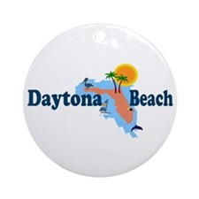 Daytona Beach FL - Map Design Ornament (Round)