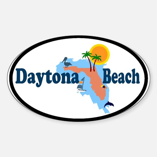 Daytona Beach FL - Map Design Oval Decal