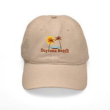 Daytona Beach FL - Sun and Palm Trees Design Baseball Cap
