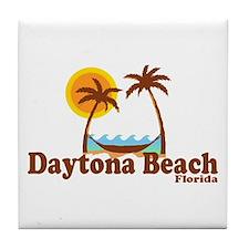 Daytona Beach FL - Sun and Palm Trees Design Tile