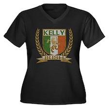 Kelly Irish Crest Women's Plus Size V-Neck Dark T-