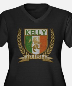 Kelly Irish Crest Women's Plus Size V-Neck Dark T-