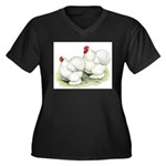 Cochins White Pair Women's Plus Size V-Neck Dark T