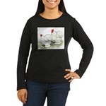Cochins White Pair Women's Long Sleeve Dark T-Shir