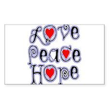 Love Peace Hope Rectangle Decal