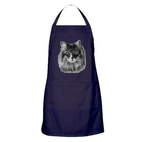 Long-Haired Gray Cat Apron (dark)
