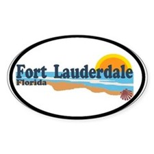 Fort Lauderdale FL - Beach Design Oval Decal