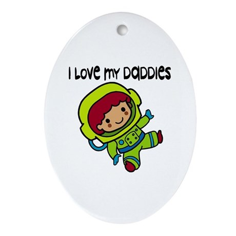 #8 I Love My Daddies Oval Ornament