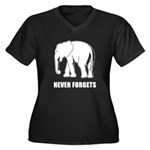 Never Forgets Women's Plus Size V-Neck Dark T-Shir