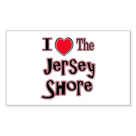 I love the jersey shore red Rectangle Sticker