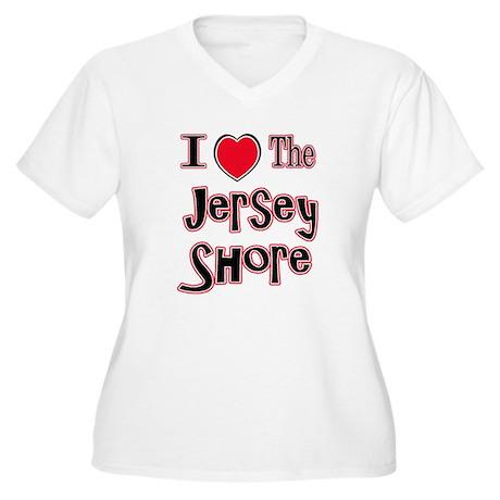I love the jersey shore red Women's Plus Size V-Ne