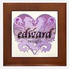 Edward Lion Ribbon Crest Heart Framed Tile