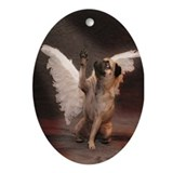 Pug with wings Oval Ornaments