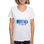 Paris Eiffel Tower Vintage Women's V-Neck T-Shirt