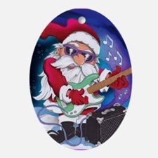 Rockin' Santa Christmas Ornament (Oval)