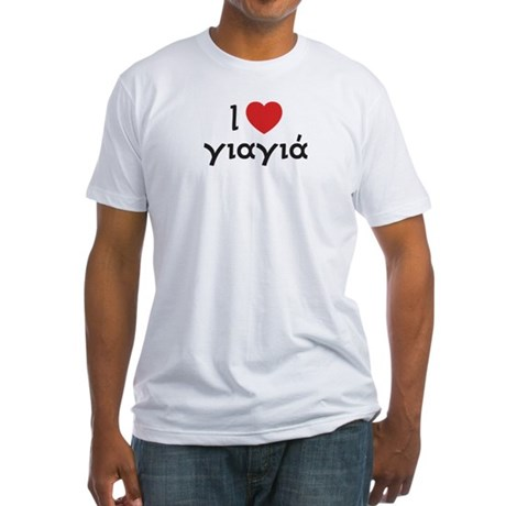 I Love Heart Yiayia Men's Fitted T-Shirt (white)