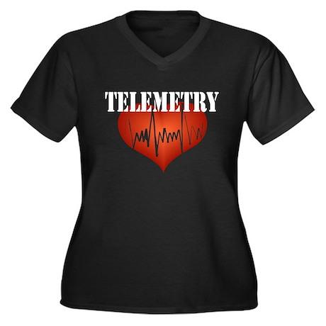 Telemetry Women's Plus Size V-Neck Dark T-Shirt