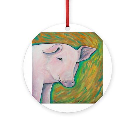 Pink Pig Ornament (Round)