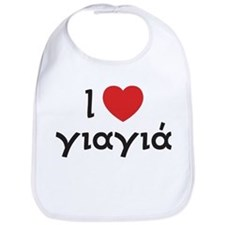 I Love Heart Yiayia Bib