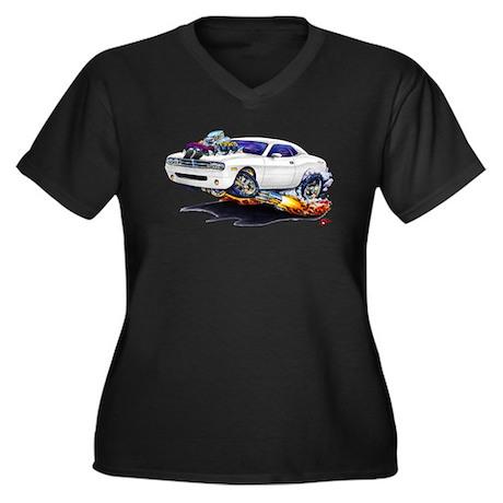 Challenger White Car Women's Plus Size V-Neck Dark