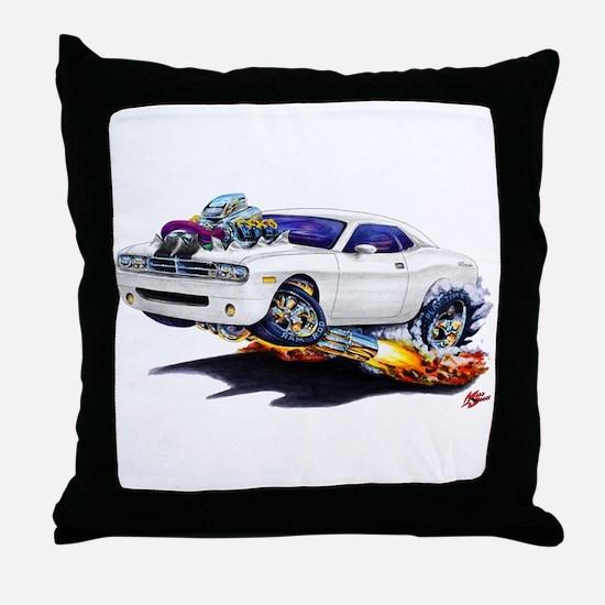 Challenger White Car Throw Pillow