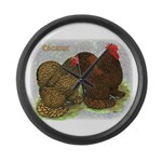 Cochins Golden Laced Large Wall Clock