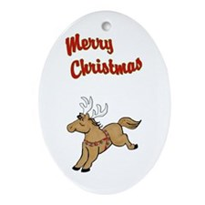 Lil' Brown Christmas Pony Ornament (Oval)