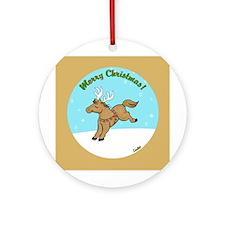 Lil' Brown Christmas Pony Ornament (Round)