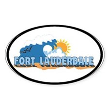 Fort Lauderdale FL - Beach Design Oval Decal