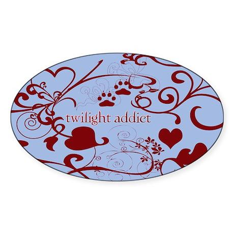 Twilight Addict Oval Sticker