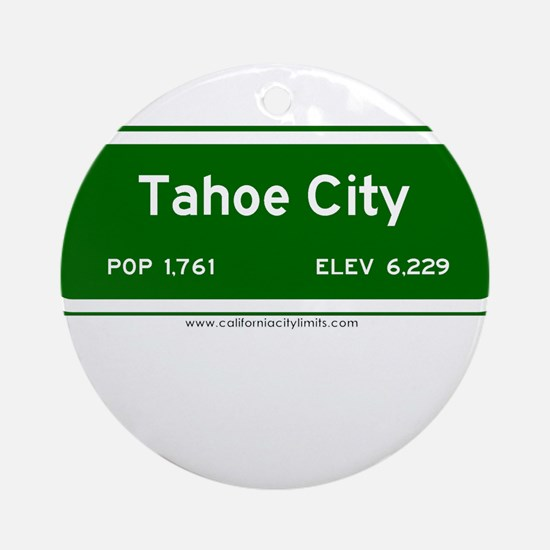 Tahoe City Ornament (Round)