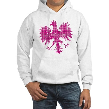 Pink Plaid Polish Eagle Hooded Sweatshirt