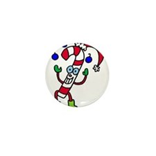 Juggling Candy Cane Mini Button