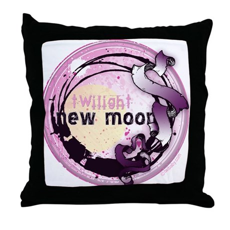 New Moon Grunge Ribbon Crest Throw Pillow